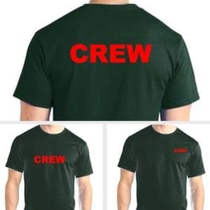 Green Crew shirts - Red Imprint
