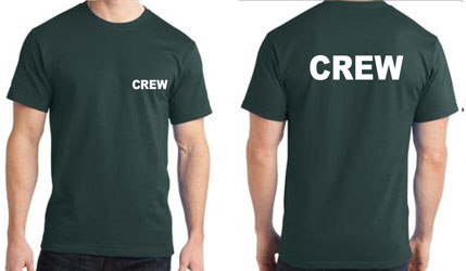 Green Crew shirts - White Imprint