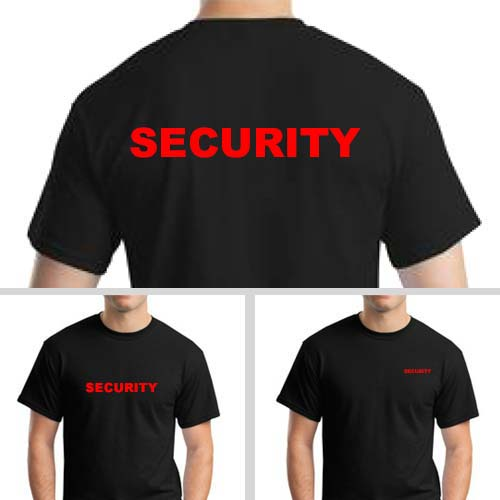 Black Security T-Shirts with Red Print