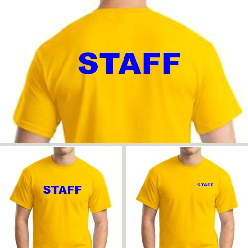 Yellow Staff T-Shirts with Blue Print