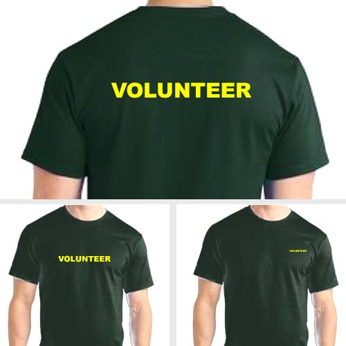 Green volunteer shirts with yellow print