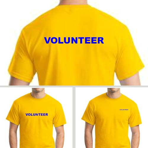 Yellow volunteer shirts with blue print